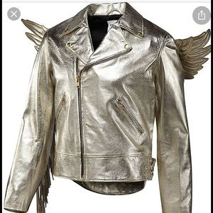 Jeremy Scott Adidas gold leather winged jacket ! M